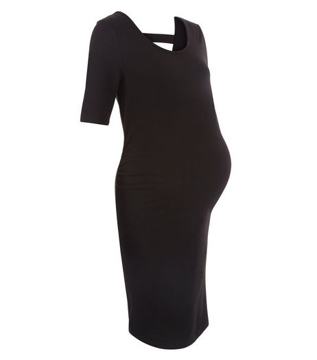 Maternity Black Bar Back 1/2 Sleeve Dress  | New Look