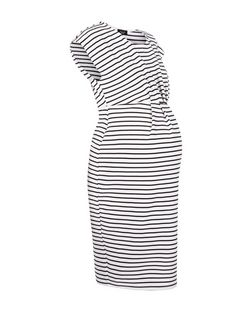 Maternity White Stripe Cap Sleeve Dress | New Look