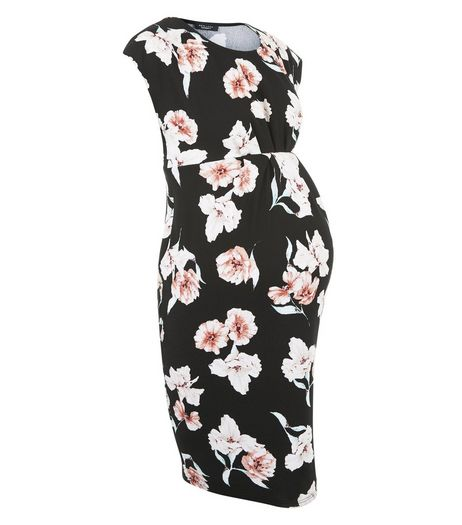 Maternity Black Floral Print Cap Sleeve Dress | New Look