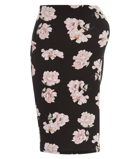 Maternity Black Floral Print Over Bump Tube Skirt | New Look