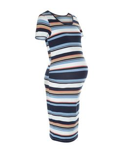 Maternity Blue Stripe Bodycon Dress | New Look