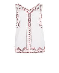 Curves White Embroidered V Neck Shell Top | New Look