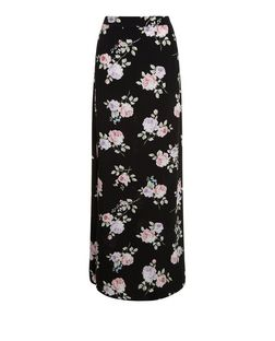 Black Rose Print Split Side Maxi Skirt  | New Look