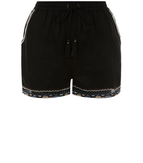 Black Embroidered Trim Shorts  | New Look