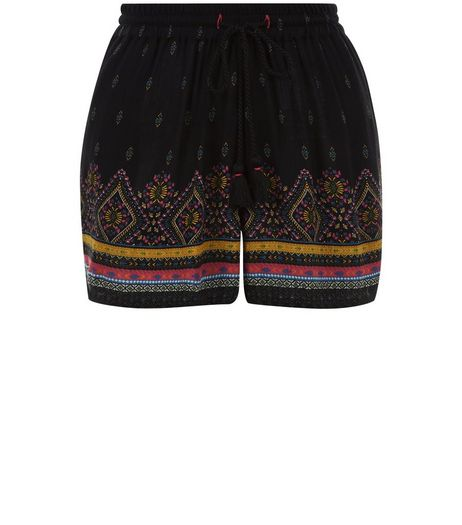 Black Abstract Print Shorts | New Look