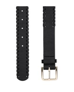 Black Stitch Trim Jeans Belt  | New Look