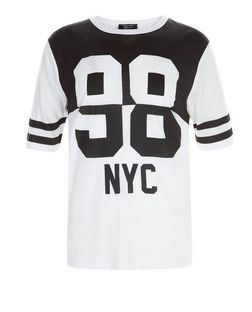 Girls White 98 NYC Print Colour Block T-Shirt | New Look