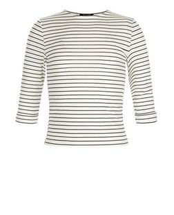 Girls White Stripe 3/4 Sleeve Top | New Look