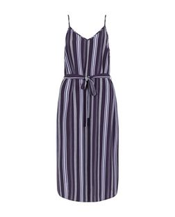 Blue Stripe Tie Waist Midi Slip Dress  | New Look