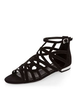 Black Suedette Twist Strap Sandals  | New Look