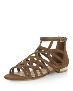 Khaki Suedette Twist Strap Sandals  | New Look