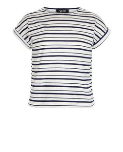 Girls White Stripe Short Sleeve T-Shirt | New Look