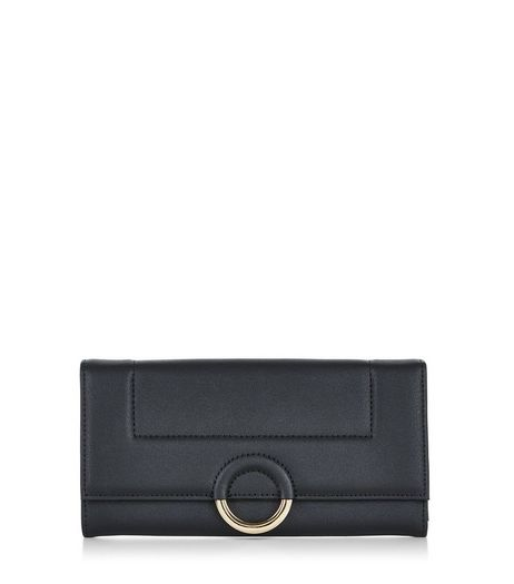 Black Round Metal Trim Purse  | New Look