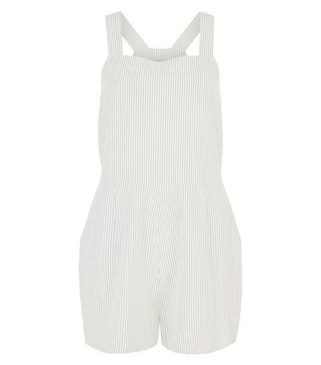 White Stripe Pinafore Playsuit  | New Look
