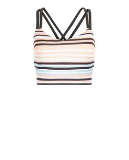 Pink Stripe Double Strap Crop Top  | New Look