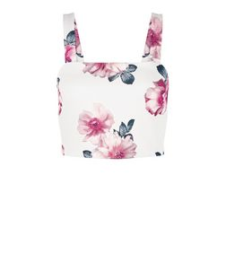 White Ribbed Floral Print Crop Top  | New Look