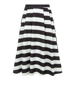 Black Stripe Midi Skater Skirt  | New Look