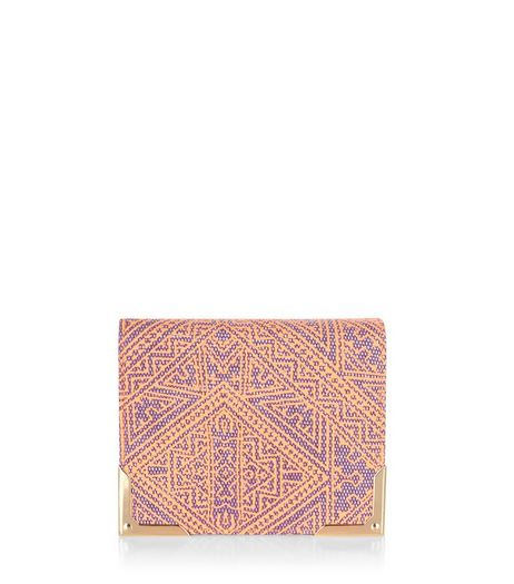 Orange Aztec Embroidered Zip Around Purse  | New Look