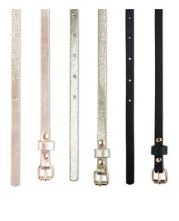 3 Pack Pink Gold and Black Metallic Skinny Belts | New Look