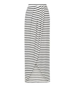 White Stripe Wrap Front Maxi Skirt  | New Look