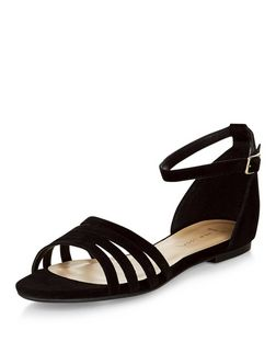 Wide Fit Black Suede Strappy Sandals  | New Look