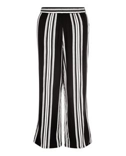 Black Stripe Wide Leg Trousers  | New Look