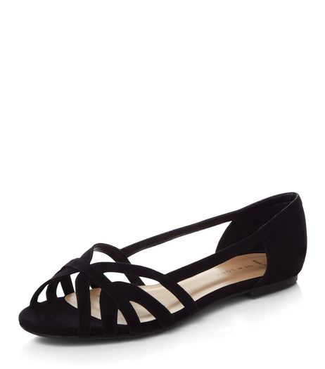 Wide Fit Black Strappy Pumps  | New Look
