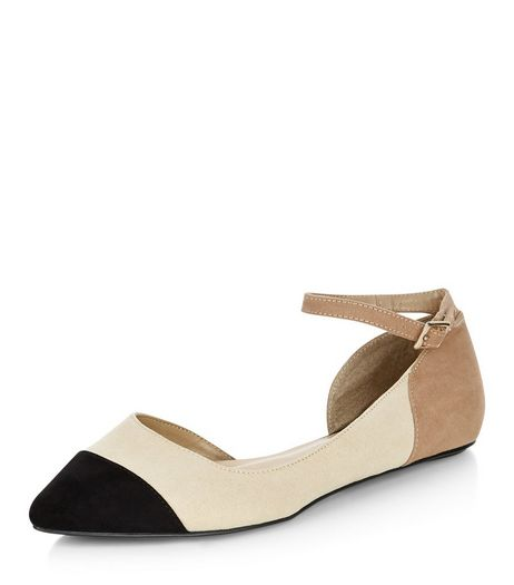 Wide Fit Camel Sudette Colour Block Ankle Strap Pumps  | New Look