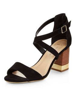 Wide Fit Black Metal Trim Cross Strap Heels  | New Look