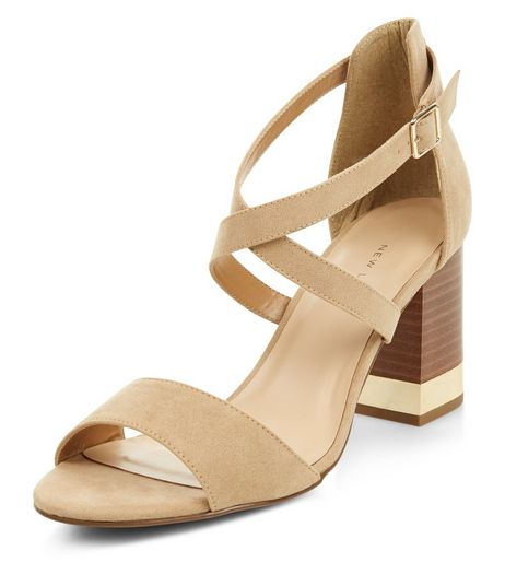 Wide Fit Stone Metal Trim Cross Strap Heels | New Look