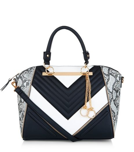 Black Snakeskin Print Panel Quilted Tote Bag  | New Look