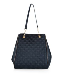 Black Quilted Panel Tote Bag | New Look