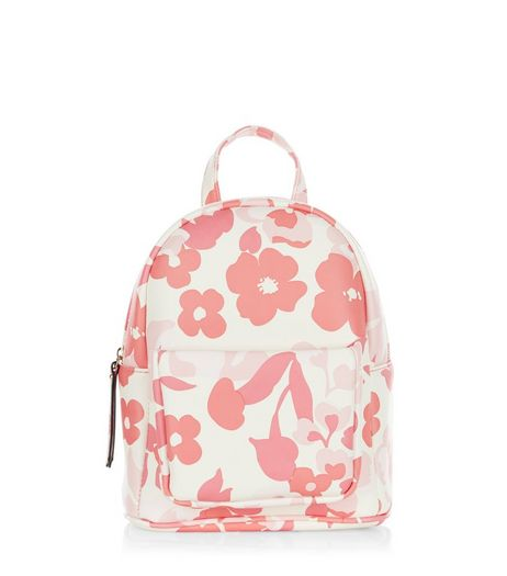 Pink Floral Print Curved Mini Backpack  | New Look