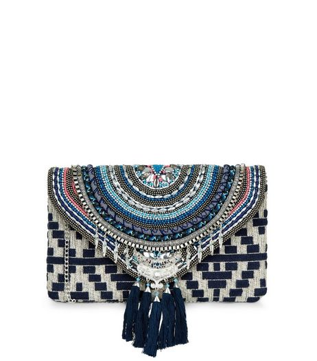 Blue Beaded Tassel Clutch | New Look