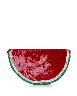 Red Embellished Watermelon Clutch  | New Look