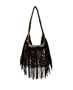 Black Abstract Woven Fringe Front Shoulder Bag  | New Look