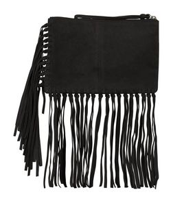 Black Suede Fringe Trim Clutch  | New Look
