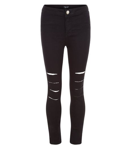 Teens Black Multi Ripped Knee Skinny Jeans | New Look