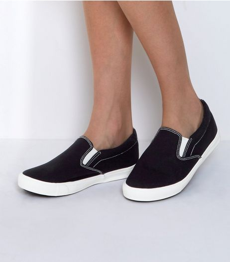 Wide Fit Black Canvas Slip On Plimsolls  | New Look