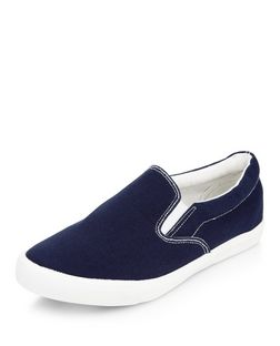 Wide Fit Navy Canvas Slip On Plimsolls  | New Look