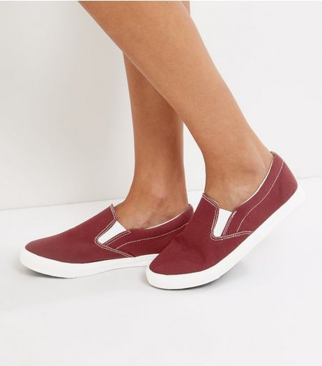 Wide Fit Red Canvas Slip On Plimsolls | New Look