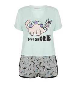 Teens Mint Green Dinosnore Print Pyjama Set | New Look