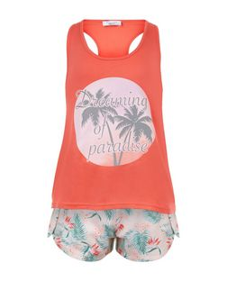 Teens Coral Dreaming Of Paradise Print Pyjama Set | New Look