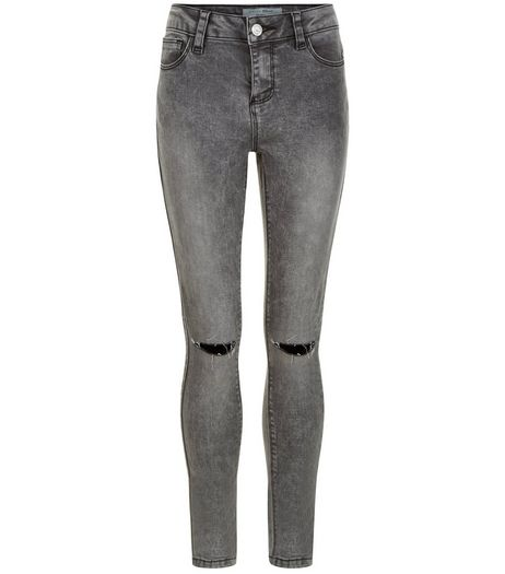 Teens Dark Grey Ripped Knee Skinny Jeans | New Look