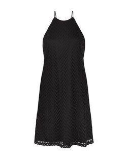 Black Crochet High Neck Slip Dress | New Look