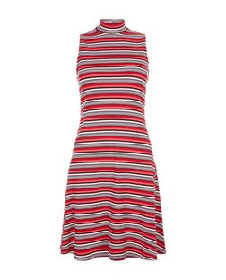Red Ribbed Stripe Funnel Neck Swing Dress  | New Look