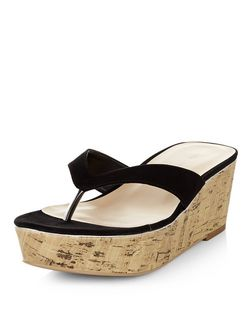 Black Suedette Flatform Cork Sandals  | New Look