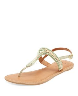 Wide Fit Green Leather Beaded Sandals  | New Look