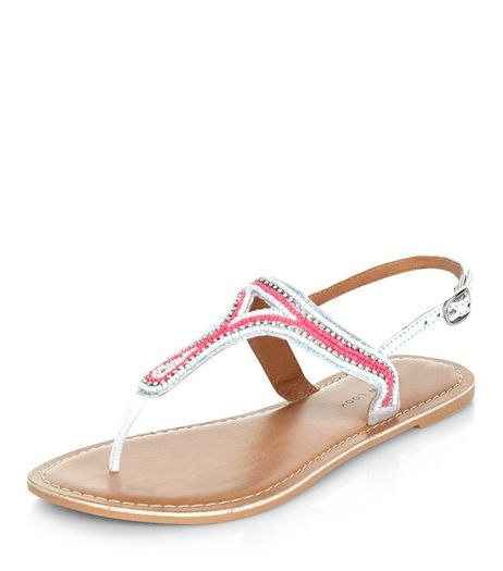 Wide Fit Pink Leather Beaded Sandals  | New Look