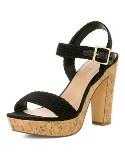 Black Plaited Ankle Strap Contrast Heeled Sandals  | New Look